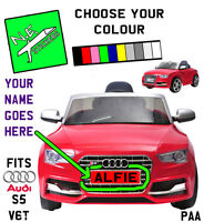 FRONT / REAR kids number plate: PLAYACTIVE Audi S5 Cabriolet 6V toy car ride-on