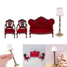 1/12 Dolls House Miniature Furniture Living Room Sofa Couch Chair Lamp Set