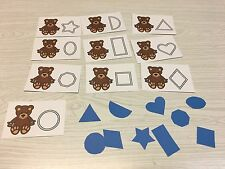 Bear Shape Match Cards - Laminated Activity Set - Teaching Supplies