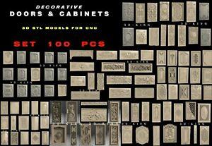 100+ Pcs 3D STL Model DECORATIVE DOORS CABINETS for CNC Router Aspire Engraver