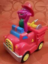 Barney the Dinosaur 2007 Push Down & Go Fire Truck No Batteries Required Jakks