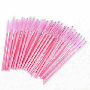 50X Disposable Mascara Wands Eyelash Brushes Kit Lash Extension Spoolie Pink