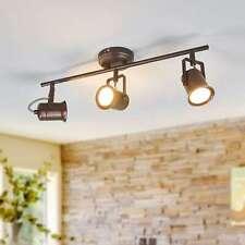 LED Deckenleuchte Cansu Landhaus Rustikal Braun Gold Lampenwelt Deckenlampe 3-fl