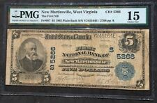 1902 Large Size National $5  NEW MARTINSVILLE  WV  Fr. 607   PMG Choice Fine 15