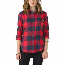 WOMENS VANS MOODY BLUES FLANNEL CHECKED SHIRT - SIZE EXTRA SMALL - RED/BLACK.