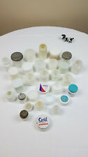 30 VTG Opaque White Milk Glass Apothecary Cosmetic Jars Ponds Secret Arrid more