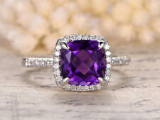 2ct Cushion Cut Amethyst Solitaire Halo Engagement Ring 14k Solid White Gold