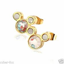 Gold Plated Cute Crystals Mickey Mouse Stainless Steel Women Stud Earrings Gift
