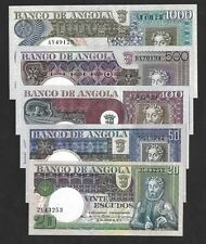 LOTE 42 - ANGOLA - PORTUGAL - COMPLETE SET - 1973 - 5 BANKNOTES - UNC