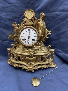 Lenzkirch Kaminuhr Antik Pendule Gold Barock Stil Tischuhr Pendeluhr Vintage Uhr