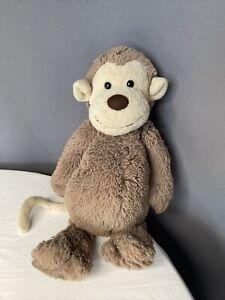 "Jellycat Bashful Monkey Brown Medium Tan Plush Stuffed Animal Baby Lovey Toy 12"""