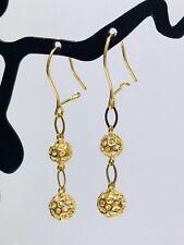 18K Solid Yellow Gold 3D Diamond Cut Double Ball Hoop Dangling Earring.