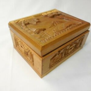 """Carved Monkey Pod Wooden Trinket Box  Wood Lined in Red 6"""" x 5"""" x 3"""""""