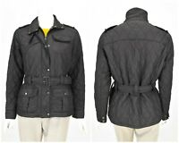 Womens Barbour Flyweight Amelia Quilted Jacket Black Biker Belted Size 12UK