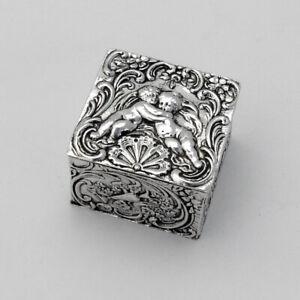 Repousse Cherub Small Box Gilt Interior Hanau Neresheimer Silver 1890s