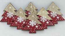 6PK RED WOODEN CHRISTMAS TREE & SNOWFLAKE 45mm DECORATION STICK ON SELF ADHESIVE