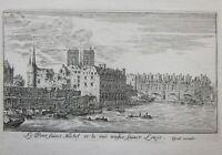 1652ca PONT SAINT MICHEL Paris Parigi ponte Senna Seine acquaforte Silvestre