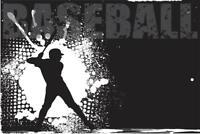 Baseball Batter Black and White B&W Art Print Mural inch Poster 36x54 inch