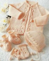 "Baby Matinee Coat Bonnet Bootees picot edge 16-20"" Knitting Pattern 4ply 215"