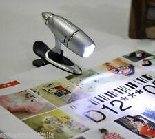 CLIP ON LED LIGHT LETTURA LIBRO NOTTE VISIONE PINZA CINTA CAPPELLO