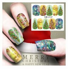 New 2018 Christmas Tree Lights Nail Art Sticker Decal Manicure Water Transfer
