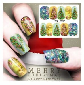 New 2021 Christmas Tree Lights Nail Art Sticker Decal Manicure Water Transfer