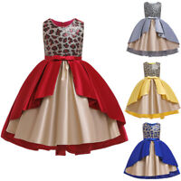 Kids Girls Sequin Princess Bridesmaid Pageant Gown Birthday Party Wedding Dress