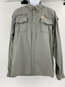 Dakota Grizzly Mens Hiking Shirt Gray Pockets Mesh Lined Long Sleeve Buttons XL