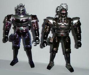 BeetleBorgs Metallix Platinum Purple + Silver Titanium Figures. Bandai 1997