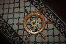 "Vintage Nautical Ship Wheel-Metal & Wood-17 & 3/4""-Nautical Decor-LQQK"