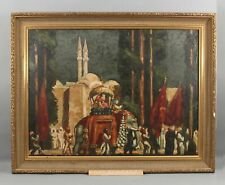 Large 1931 Antique Indian Elephant Royalty Procession Orientalist Oil Painting