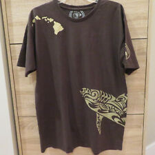 T & C TOWN & COUNTRY SURF DESIGNS HAWAII ISLANDS FISH T SHIRT MENS BROWN Size L