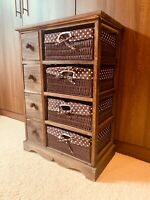 Wood Cabinet With 4 Wicker Baskets And 4 Drawers Bedside Table Furniture Storage