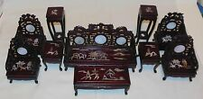 10 PIECE ROSEWOOD LIVING ROOM  SET MOTHER OF PEARL INLAID DOLLHOUSE FURNITURE
