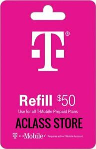 T-Mobile  Prepaid $50 Refill Top-Up Prepaid Card,Refill,AIRTIME/NO Physical card
