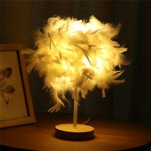 Modern White Feather Shade Table Lamp Lampshade Elegant Bedside Desk Night Light