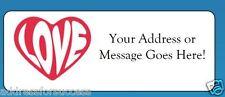 60 Personalized Love Heart Return Address Labels