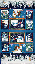 Christmas Fabric - Holiday Snowman Animal Clothworks Creature Comforts - Panel