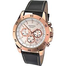Sekonda Men's Quartz Watch with Rose Gold Dial Chronograph Display and Black Lea