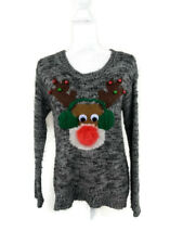 Rewind Small Ugly Christmas Sweater Reindeer w/ Feather Nose Yarn Earmuffs Bells