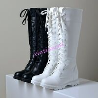 Womens faux Leather Knee High Boots Lace Up Low Block Heel Combat Ridding Shoes