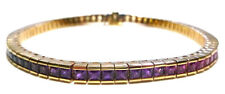 DESIGNER 14K YELLOW GOLD 9.50CT PRINCESS CUT RAINBOW SAPPHIRE TENNIS BRACELET 8""
