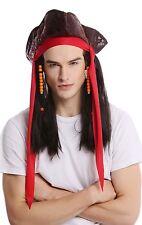 Peluca & Sombrero Mujer Hombre Carnaval Halloween Pirata Asaltante marrón