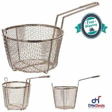 NEW Deep French Fry Basket Wire For Fish Chips Round With Handle Cooking Kitchen