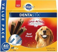 40 PEDIGREE Dental Dog Treats, Oral Care Sticks Chewable Large Adult Beef New