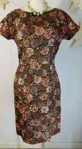 Vtg 50s Curvy Brown Olive Green Rose Dress Side Zip M 38.29.40