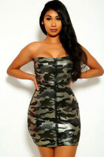 Sexy Camouflage Gloss Dress Bodycon Strapless Hot Mini Party Night Club Outfit
