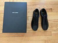Saint Laurent Andy Black Leather Men's Shoes Low top Sneakers Eu 45- US 11