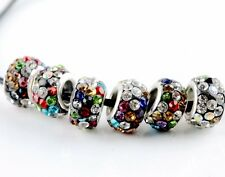 20Pcs SILVER MURANO GLASS BEADS LAMPWORK Fit European Charm Bracelet Mixed