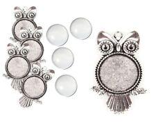 4 SET Silber Eule Fassungen Anhänger Medaillons Cabochon Klar Glas 25mm Basteln